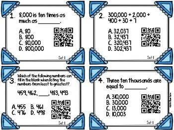 Place Value Task Cards [QR Codes] 4NBT1 4NBT2 4NBT3