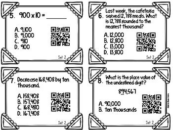 Place Value Task Cards [QR Codes] 4NBT1 4NBT2 4NBT3