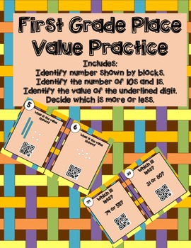 Place Value Task Cards (QR Codes)--First Grade!