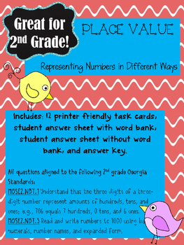 Place Value Task Cards: Representing Numbers in Different Ways