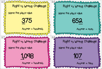 """Place Value Task Cards - """"Right or Wrong Challenge"""""""