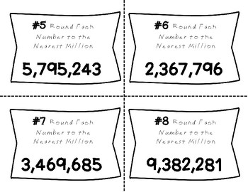 Place Value Task Cards Round Each Number To The Nearest Million