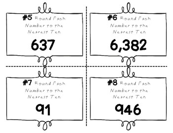 Place Value Task Cards Round Each Number To The Nearest Ten