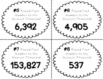 Place Value Task Cards Round Each Number To The Nearest Thousand