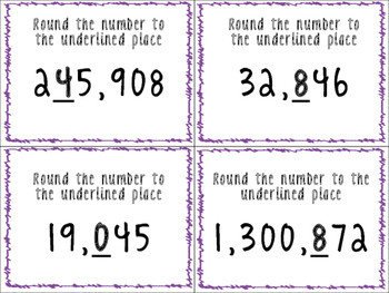Place Value Task Cards-Rounding, Comparing, Number Names