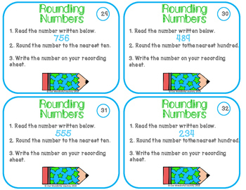 Place Value Task Cards Rounding Numbers
