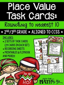 Place Value Task Cards: Rounding to Nearest 10 {Christmas}