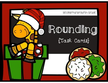 Place Value Task Cards- Rounding to the Nearest 10 and 100 {Christmas Theme}
