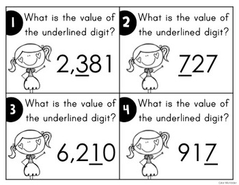 Place Value Task Cards Set 1: Standard Form