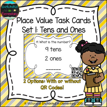 Place Value Task Cards Set 1:Tens and Ones: 1st Grade CC: Understand place value