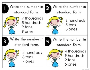 Place Value Task Cards Set 2: Write the Number