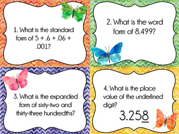 Place Value Task Cards: Standard/Expanded/Word Form Variety, Decimal Numbers