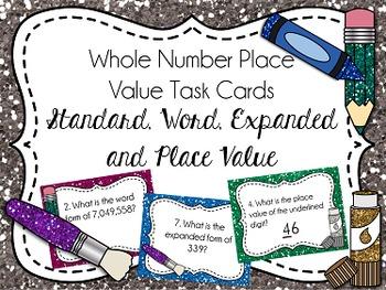 Place Value Task Cards: Standard/Expanded/Word Form Variet