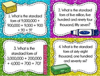 Place Value Task Cards: Standard Form, Whole Numbers