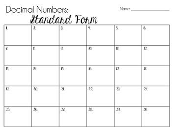 Place Value Task Cards: Standard Form, Decimal Numbers