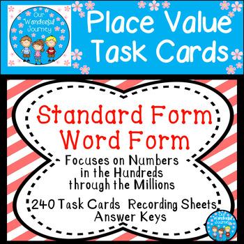 Place Value Task Cards Standard Form Word Form
