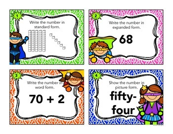 Place Value Task Cards - Superhero Theme