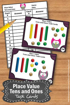 Base Ten Blocks Task Cards, Owl Theme, Tens and Ones Game
