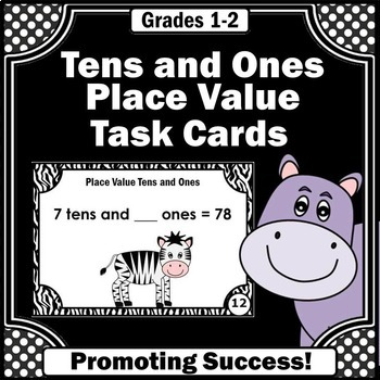 2 Digit Place Value Cards, Tens and Ones Task Cards, 1st Grade Math Centers
