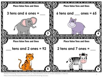 2 Digit Place Value Game SCOOT, Tens and Ones Task Cards, 1st Grade Math Review