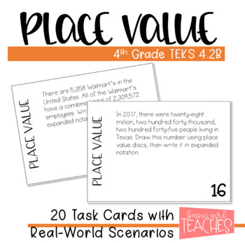 TEKS 4.2B: Place Value and Expanded Notation Task Cards