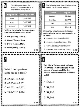 Place Value Task Cards Third Grade TEKS 3.2D Comparing Numbers