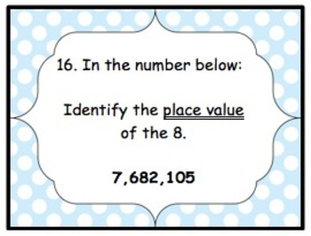 Place Value Task Cards: Thousandths to Millions