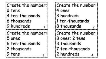 Place Value Task Cards Through Ten-thousands