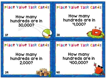 Place Value Task Cards - Through the Hundred Thousands Place