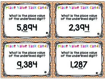 Place Value Task Cards - Through the Thousands Place