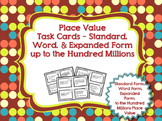 Place Value Task Cards - Up to Hundred Millions