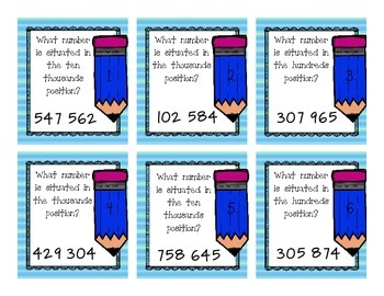 Place Value Task Cards (Up to Hundred Thousands)