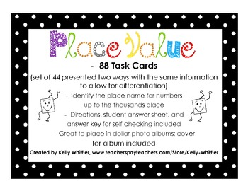 Place Value Task Cards - Up to Thousands Place