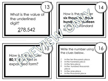 Place Value Task Cards- Up to Hundred Thousands