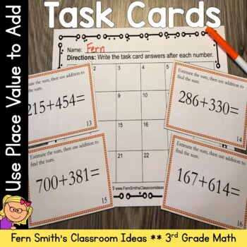 Place Value Task Cards - Using Place Value to Add