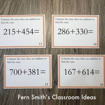 3rd Grade Go Math 1.7 Place Value Task Cards - Using Place Value to Add
