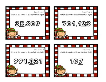 Place Value Task Cards- Value of the Digit {Christmas Theme}