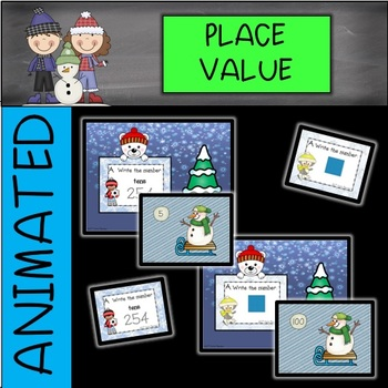 DIGITAL and PAPER Winter Place Value Task Cards/Write the Room