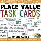 Place Value Task Cards & Game with QR Codes Math Review