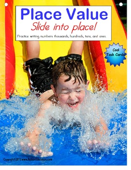 Place Value Task Cards - Water Slide Fun!