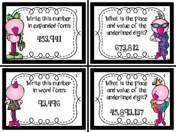 Place Value Task Cards - Whole Numbers through the Millions