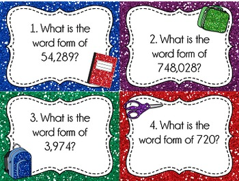 Place Value Task Cards: Word Form, Whole Numbers
