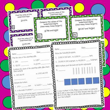 place value task cards worksheets 4th grade common core 4 nbt 1. Black Bedroom Furniture Sets. Home Design Ideas