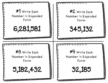 Place Value Task Cards Write The Number In Expanded Form To The Millions