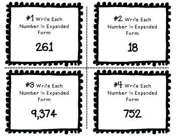 Place Value Task Cards Write The Number In Expanded Form To The Thousands