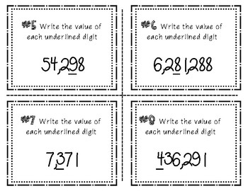 Place Value Task Cards  Write The Value Of The Underlined Digit To The Millions