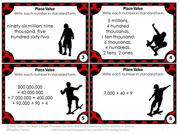 Place Value Games, Standard Form Expanded Form, Place Value Task Cards