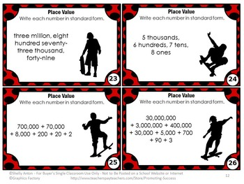 Place Value Expanded Form Standard Form and Word Form Task Cards