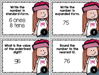 Place Value Task Cards for 2 & 3 Digit Numbers