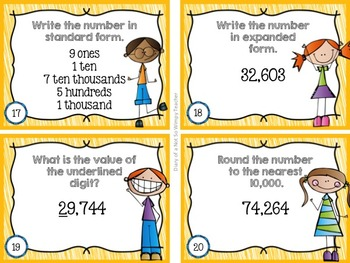 Place Value Task Cards for 4 & 5 Digit Numbers